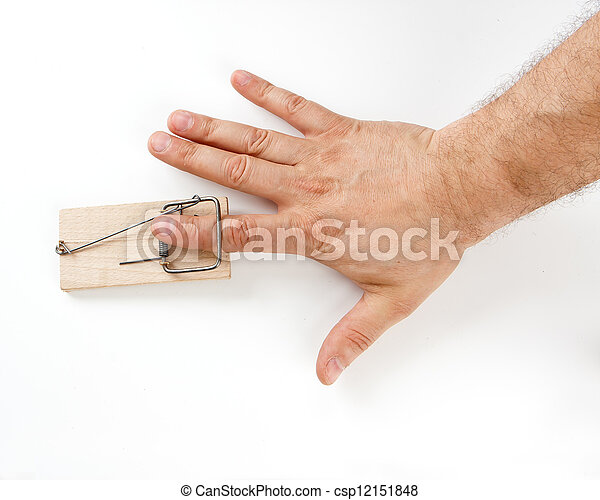 Male finger caught by mouse trap on white background - csp12151848