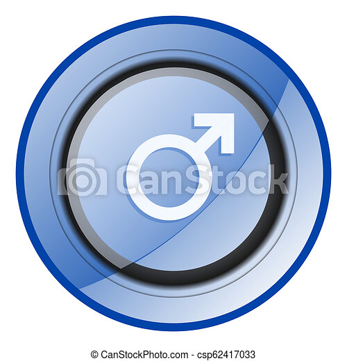 Male gender sign blue glossy web icon - csp62417033