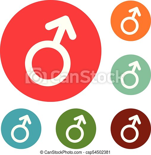 Male Gender Symbol Icons Circle Set Vector Isolated On White Background