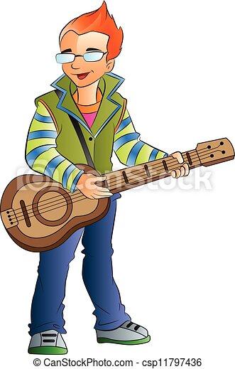 Male Guitarist, illustration - csp11797436