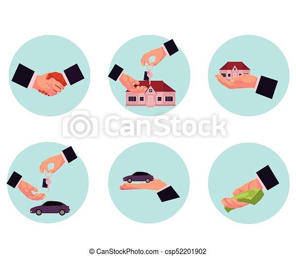 Male hand giving money, car, house, key, handshake - csp52201902