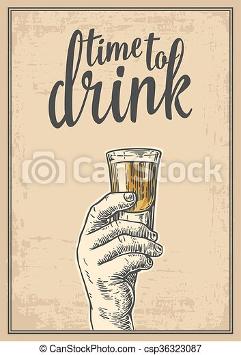 Male hand holding a shot of alcohol drink vintage vector engraving male hand holding a shot of alcohol drink vintage vector engraving illustration for label poster stopboris Choice Image