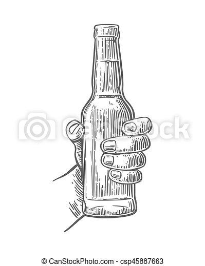 Male Hand Holding Open Bottle Beer Black Vintage Engraving Vector