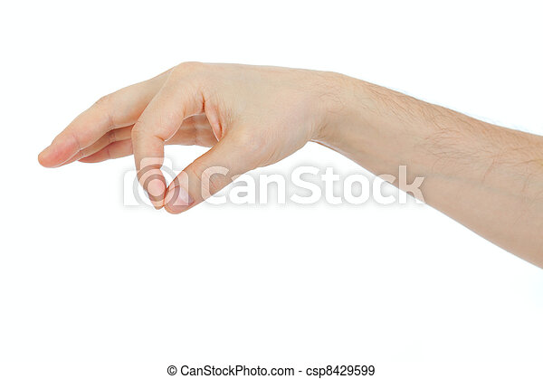 male hand holding some thing object isolated on white - csp8429599