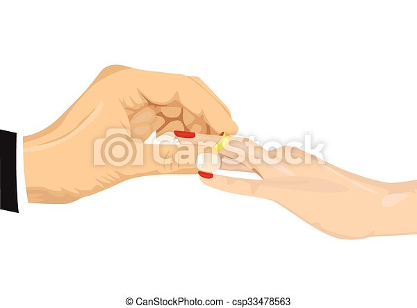 Line Art Hand : Close up portrait of male hand inserting an engagement ring