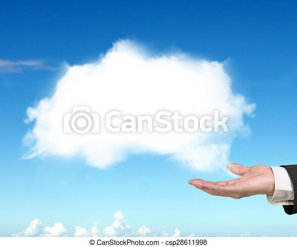 Male hand showing white cloud with blue sky - csp28611998