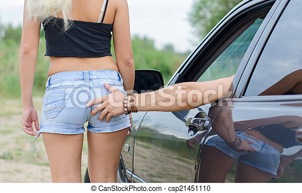 Hand in girl ass