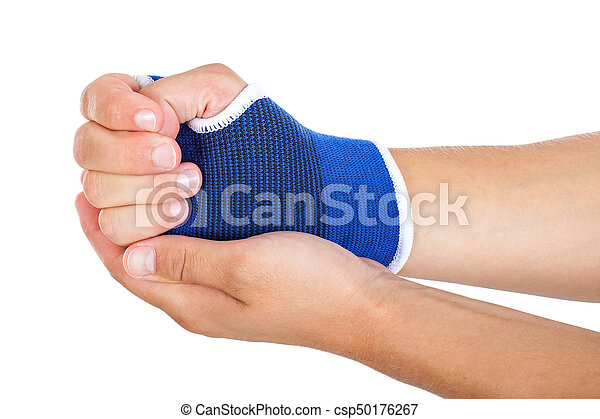 Male Hand With Elastic Bandage Isolated Close Up Picture Of Young