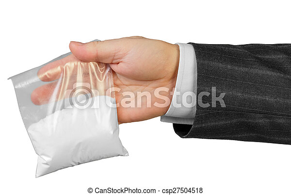 Male hand with package of drugs - csp27504518