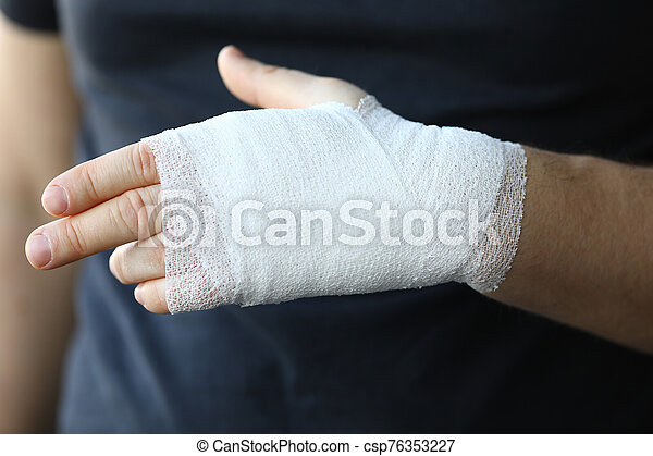 Male Hand With Tight Elastic Bandage On Arm Closeup Self Help