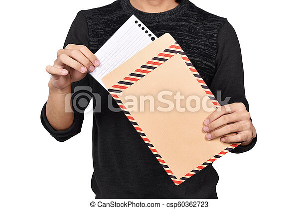 Male hands opening brown envelope - csp60362723