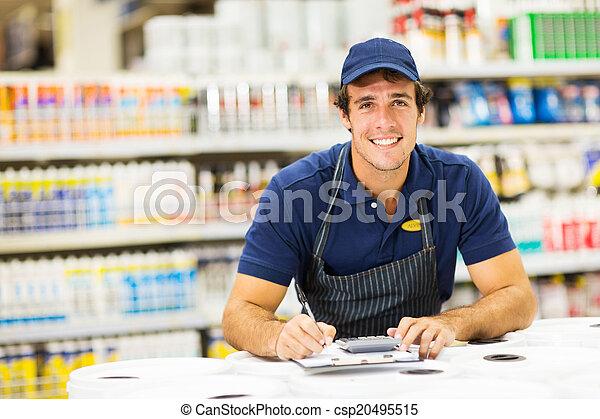male hardware store worker - csp20495515