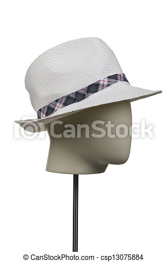 Male hat isolated on white - csp13075884