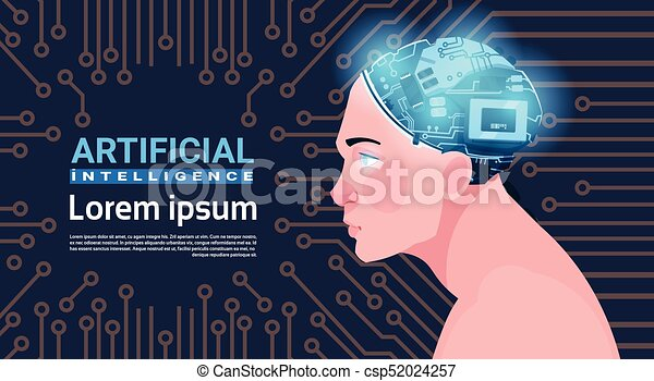 Male Head With Modern Cyborg Brain Over Circuit Motherboard Background Artificial Intelligence Concept - csp52024257