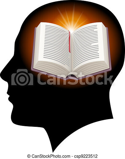 Male head with open book - csp9223512