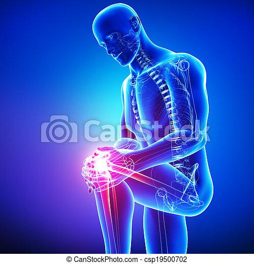Male knee pain anatomy on blue - csp19500702