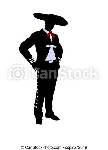 Male Mariachi Illustration Silhouette - csp2572049