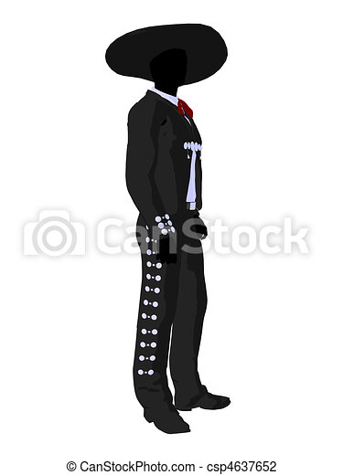 Male Mariachi Silhouette Illustration - csp4637652