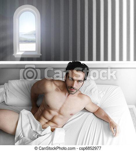 Male model in bedroom - csp6852977