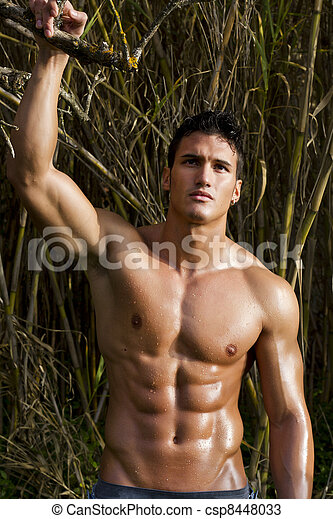 View Of A Very Fit Male Model With Muscles On The Stock Photos
