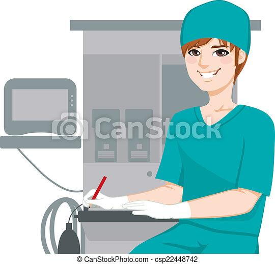 Male Nurse Writing Documents - csp22448742