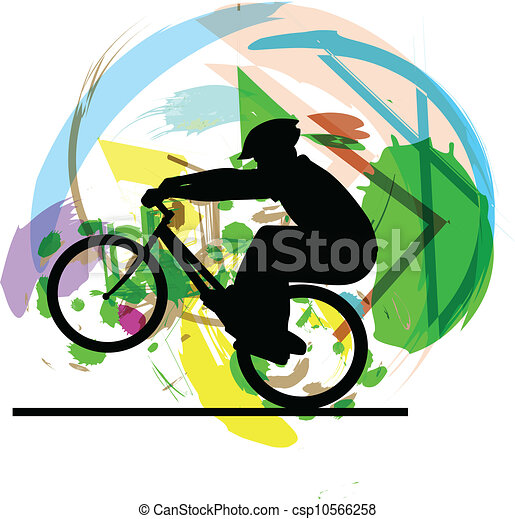 Male on a bicycle. Vector - csp10566258