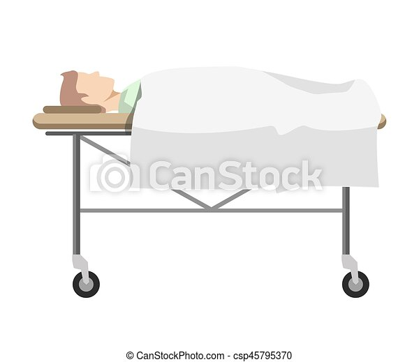 Male person lying on medical table with wheels