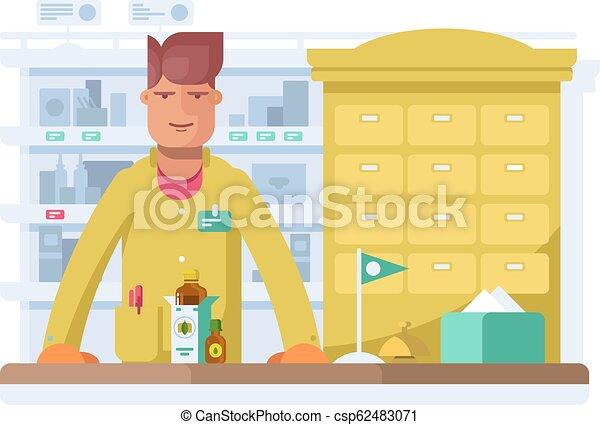 Male pharmacist standing in pharmacy drugstore. - csp62483071