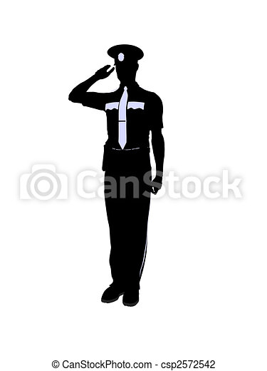 Male Police Officer Illustration Silhouette - csp2572542