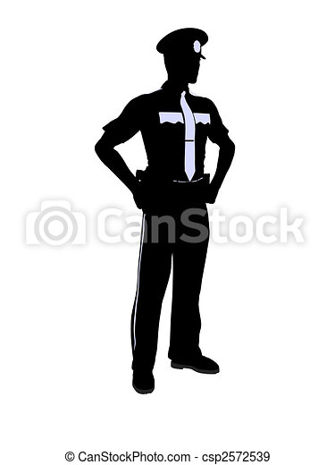 Male Police Officer Illustration Silhouette - csp2572539