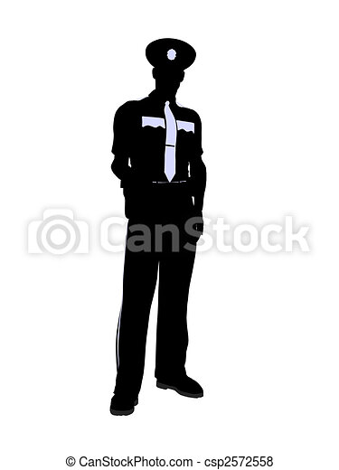 Male Police Officer Illustration Silhouette - csp2572558