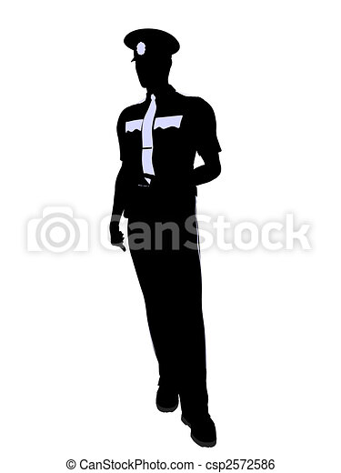 Male Police Officer Illustration Silhouette - csp2572586