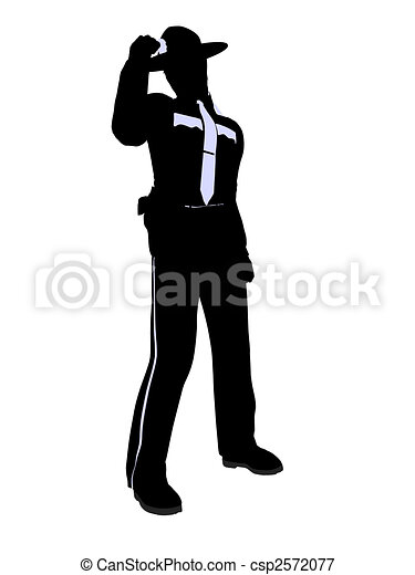 Male Police Officer Illustration Silhouette - csp2572077