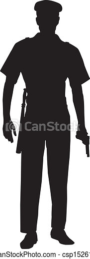 Male Police Officer Silhouette - csp15261764