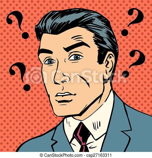 Male question marks misunderstanding Enigma men pop art comics retro style Halftone - csp27163311