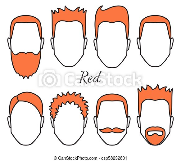 Male red hair and face fungus styles types, different hair cut, moustaches and beard, man head with red hair, guy crop concept, vector illustration - csp58232801