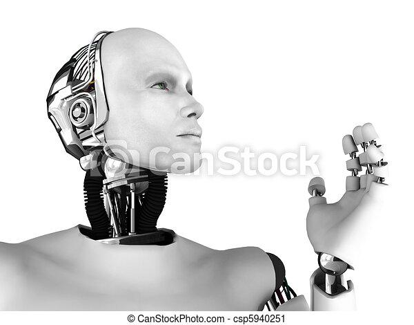 Male robot head in profile. - csp5940251