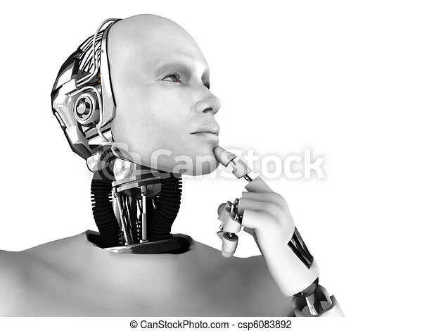 Male robot thinking about something. - csp6083892
