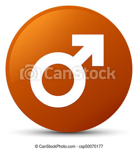 Male sign icon brown round button - csp50070177