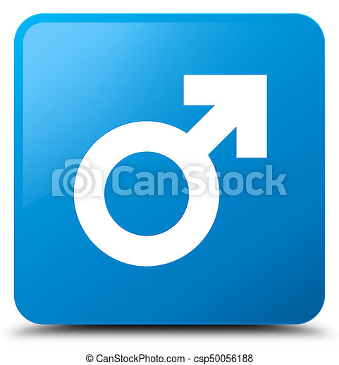 Male sign icon cyan blue square button - csp50056188