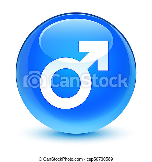 Male sign icon glassy cyan blue round button - csp50730589