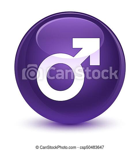 Male sign icon glassy purple round button - csp50483647
