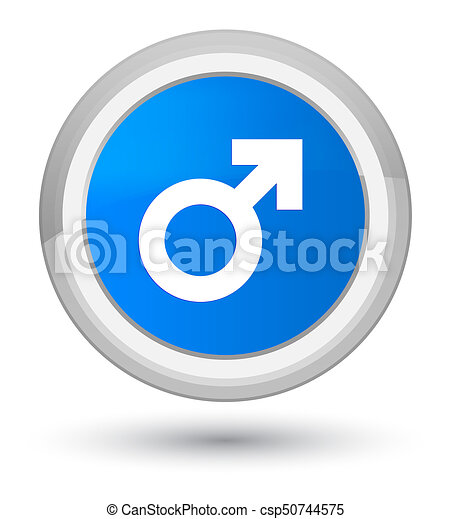 Male sign icon prime cyan blue round button - csp50744575