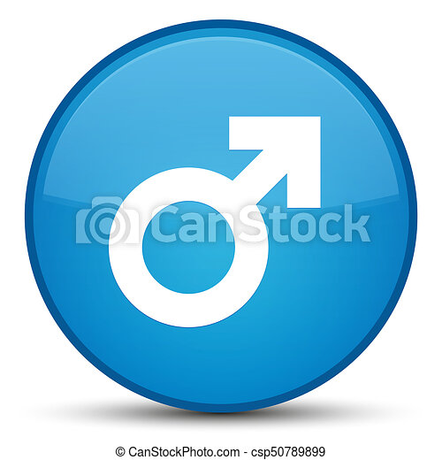 Male sign icon special cyan blue round button - csp50789899