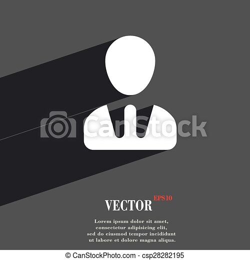 male silhouette icon symbol Flat modern web design with long shadow and space for your text. Vector - csp28282195