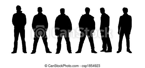 Male silhouettes black, white - csp1854923