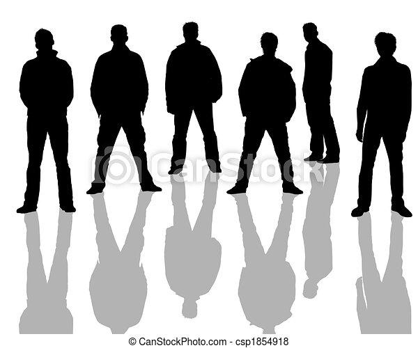 Male silhouettes black, white - csp1854918