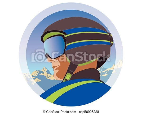 male skier with grey helmet and goggles profile view - csp50925338