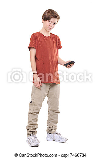 male smiling teenager with mobile phone, isolated on white - csp17460734