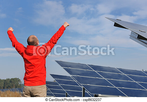 Male solar panel engineer at work place - csp8632237